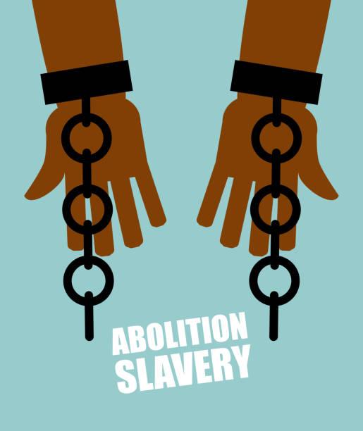 Abolition of slavery. Hands black slave with broken chains. Shat vector art illustration