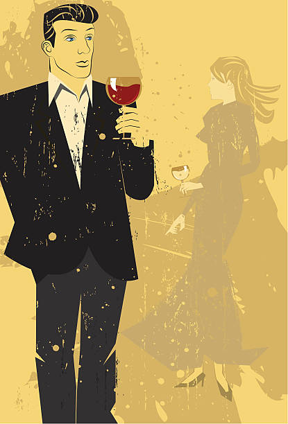 About to meet A couple drinking wine about to meet for the first time. The artwork is on separate labeled layers. suave stock illustrations