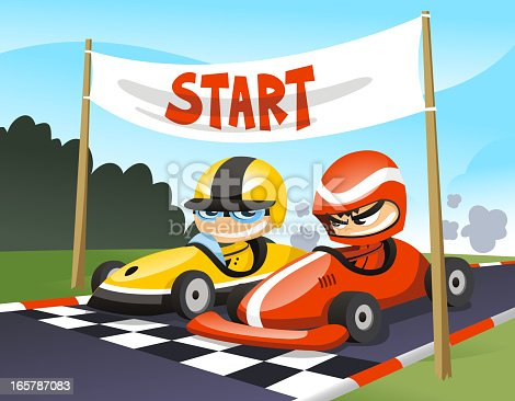 Go-karts About to start a race.