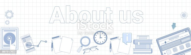 istock About Us Word On Squared Background Horizontal Banner Contact Information Page Concept 897512622