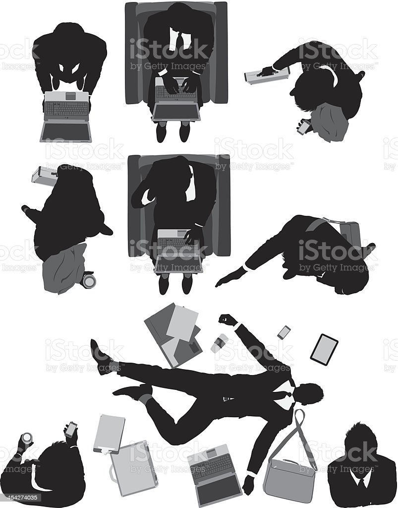 Above view of businessmen in different activities royalty-free stock vector art
