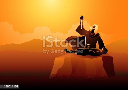 Biblical vector illustration series, Abraham sacrificing his son as a test of faith