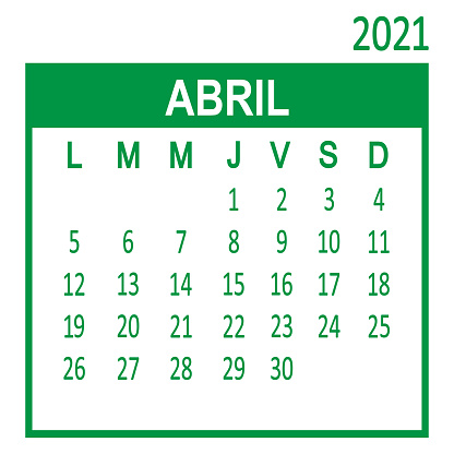 Abril April. Fourth page of set. Calendar 2020, template. Week starts from Lunes Monday. Vector