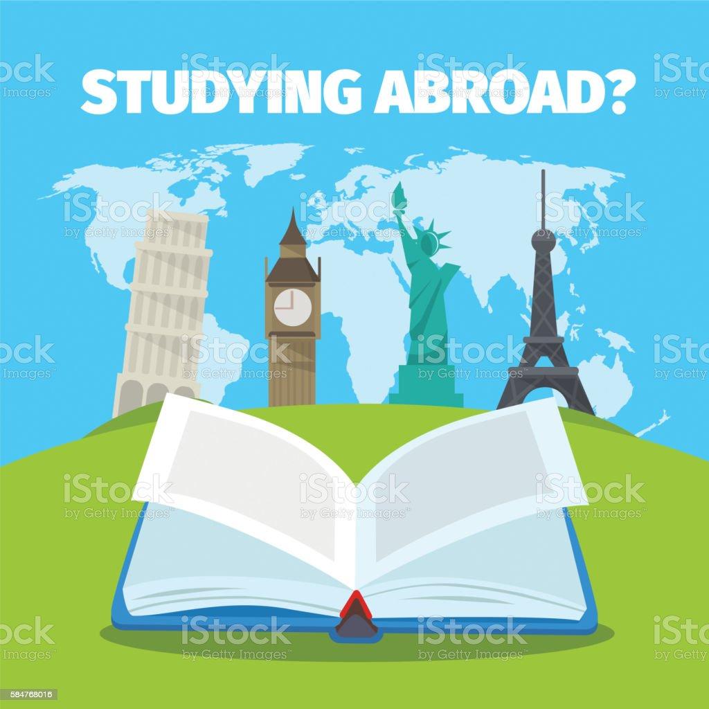 Abroad studying foreign languages concept. – Vektorgrafik