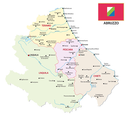 abruzzo administrative and political map with flag