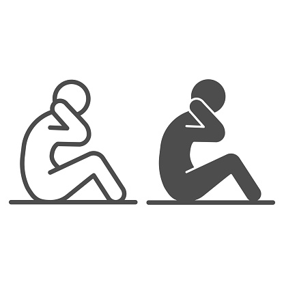 Abs workout line and solid icon, self defense concept, fitness sign on white background, sportsman doing abdominal crunches icon in outline style for mobile concept and web design. Vector graphics.