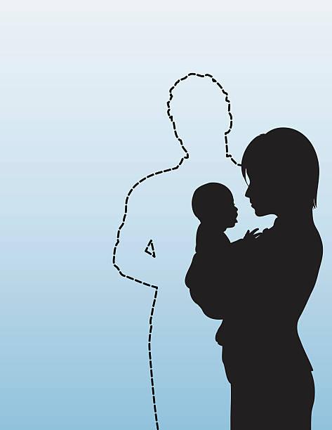 stockillustraties, clipart, cartoons en iconen met absent father - single mother - absentie