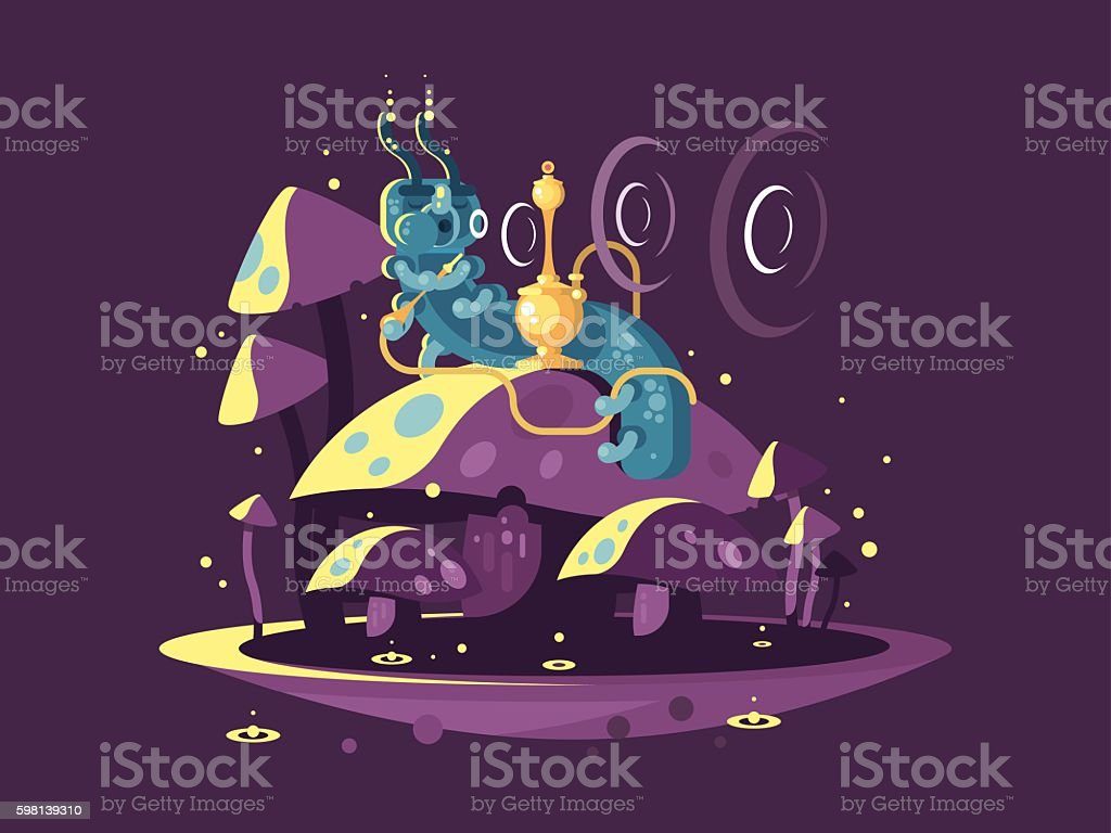 Absolem character from Alice in wonderland vector art illustration