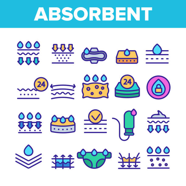 Absorbent, Absorbing Materials Vector Color Line Icons Set Absorbent, Absorbing Materials Vector Thin Line Icons Set. Absorbents For Moisture Control. Absorbing Breathable Textures For Children, Women Linear Pictograms. Water Drops Contour Illustrations porous stock illustrations