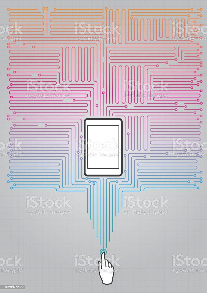 Cep telefonu ile Absract dijital devre vektör sanat illüstrasyonu