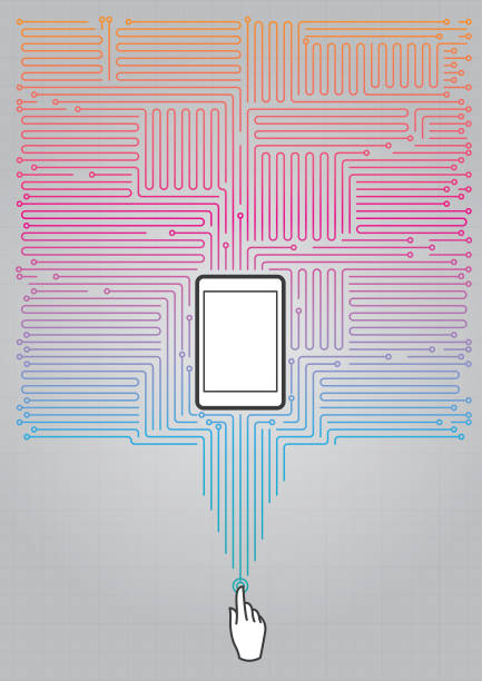Absract digital circuit with cellphone vector art illustration