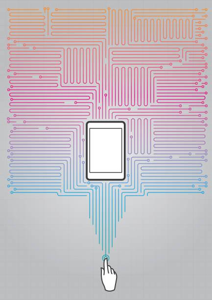 Absract circuit numérique avec téléphone portable - Illustration vectorielle