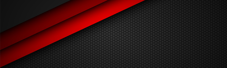 Abstact red line vector header with octagonal mesh. Overlap layers on black banner with hexagonal pattern. Modern vector background
