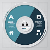 Abstract 2 steps modern pie chart infographics elements.Vector illustration. EPS 10. For sample text and your presentation.