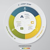 Abstract 3 steps modern pie chart infographics elements.Vector illustration. EPS10.