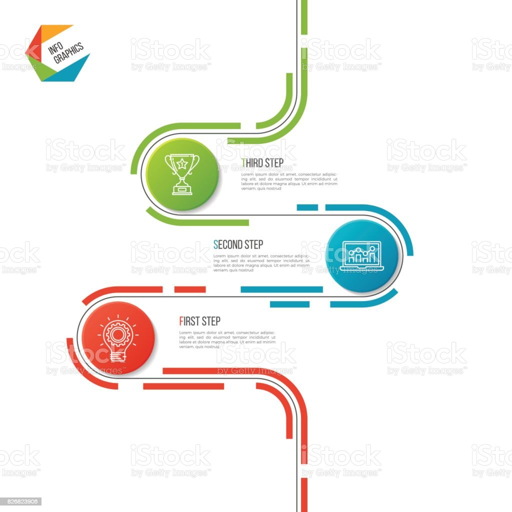 抽象的な 3 つのステップの道タイムライン インフォ グラフィック
