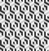 Abstract 3D background of isometric hexagonal shapes. Grey vector seamless pattern design.