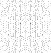 Abstract 3D background of isometric hexagonal shapes. Thin black outline vector seamless pattern design.