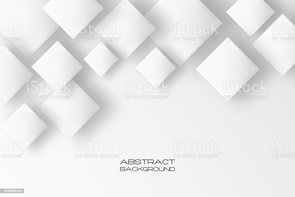 Vector Square Background Hd Vector Three Dimensional: Abstract 3d Background With White Paper Geometric Shapes