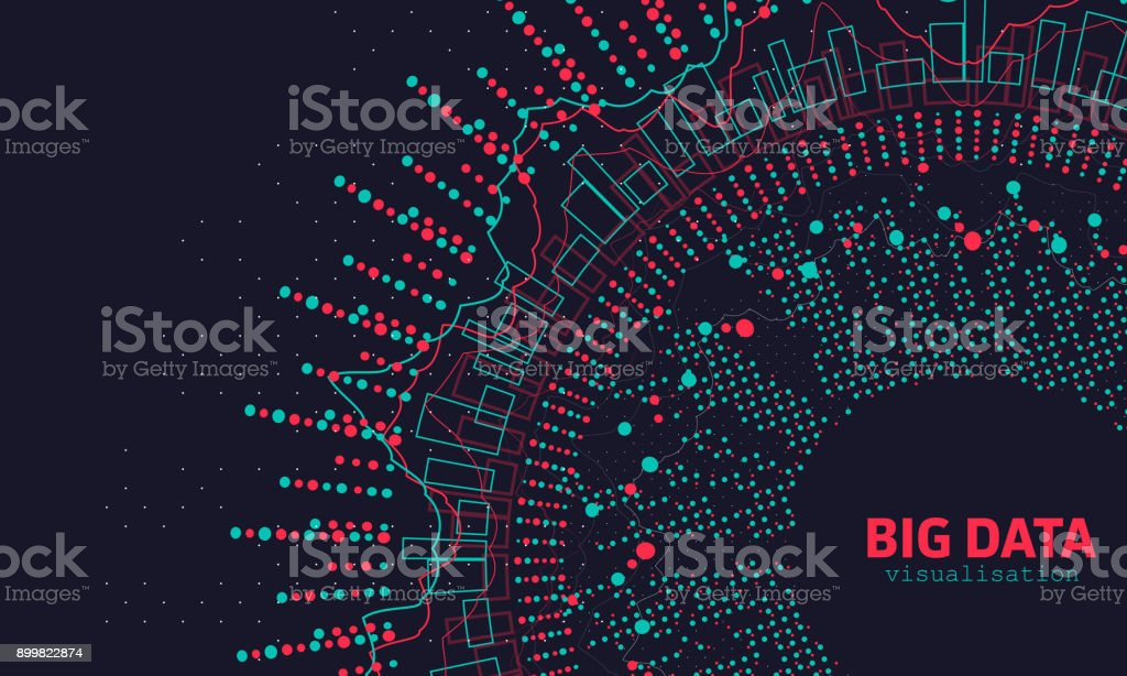 Abstract 3D Big Data Visualization. Futuristic Infographics Design vector art illustration