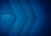 Abstract 3D blue triangle with overlap paper layer gradient color with copy space background. Vector illustration