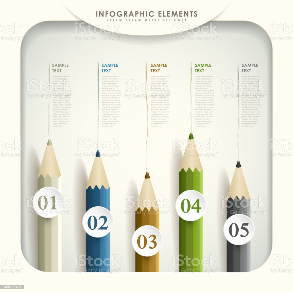 abstract 3d colored pencil infographics vector art illustration
