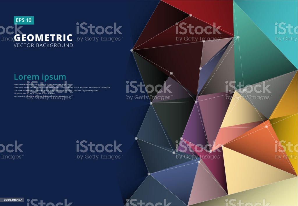 Abstract 3D colorful triangle,low polygonal, geometric , pattern template with copy space, Vector vector art illustration