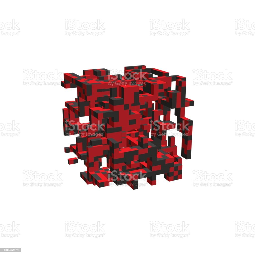 Abstract 3d construction in form of cube. Vector illustration. abstract 3d construction in form of cube vector illustration - arte vetorial de stock e mais imagens de abstrato royalty-free