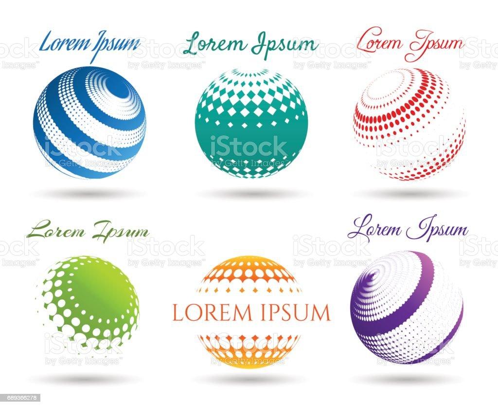 Esferas de punto 3d abstracto conjunto de iconos - ilustración de arte vectorial