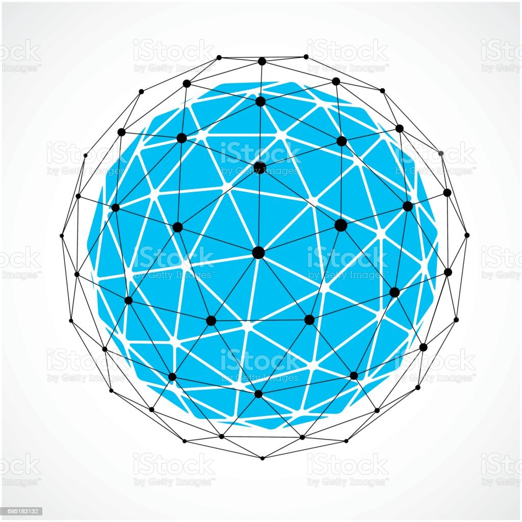 abstract 3d faceted figure with connected black lines and dots blue Printable Grid Paper Thick Lines abstract 3d faceted figure with connected black lines and dots blue vector low poly design element cybernetic orb shape with grid and lines mesh