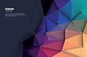 Vector illustration white paper (blank space for your content) on Abstract 3D Geometric, Polygonal, Triangle pattern shape and multicolored,blue, purple, yellow and green background