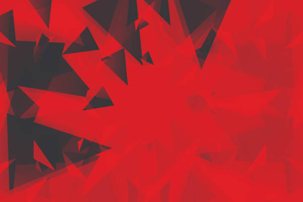 ilustrações de stock, clip art, desenhos animados e ícones de abstract 3d geometric, polygonal, triangle pattern - vr red background