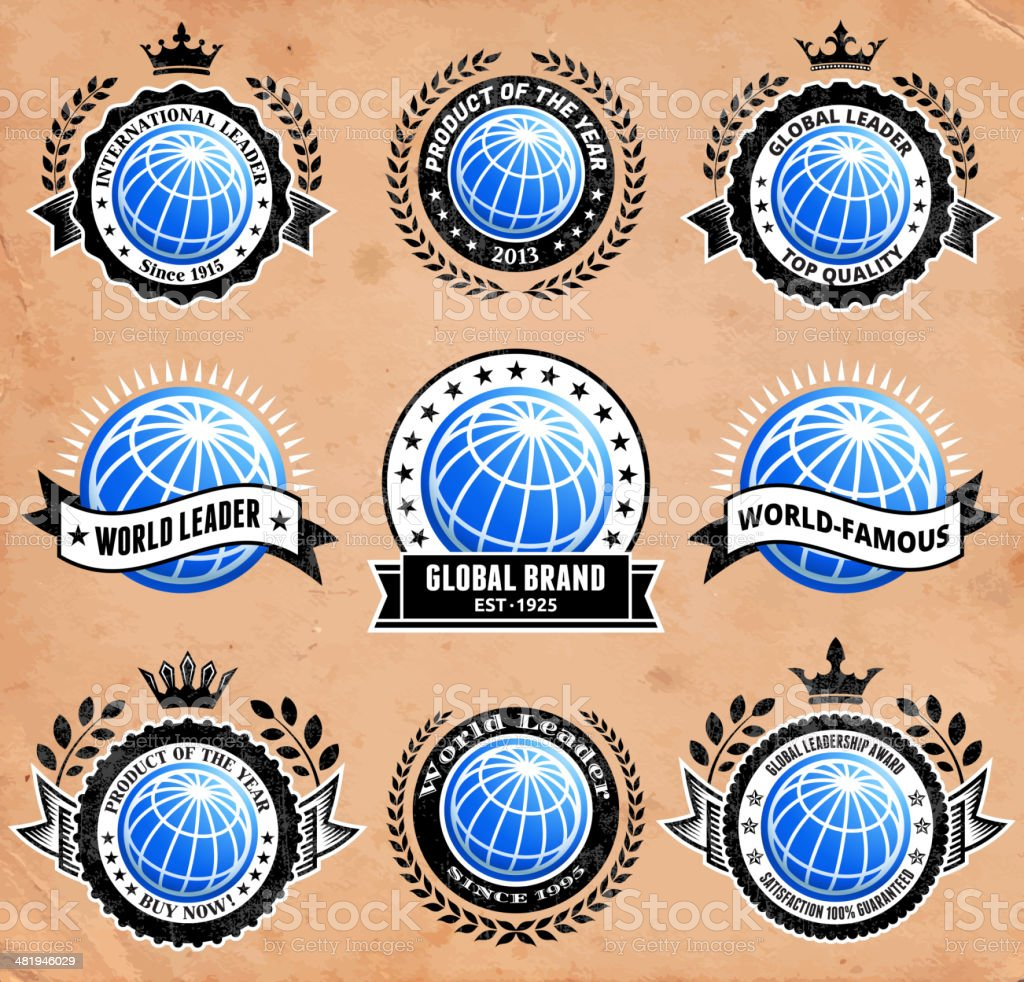 Abstract 3D Globe Badge on Old Paper Background royalty-free abstract 3d globe badge on old paper background stock vector art & more images of abstract
