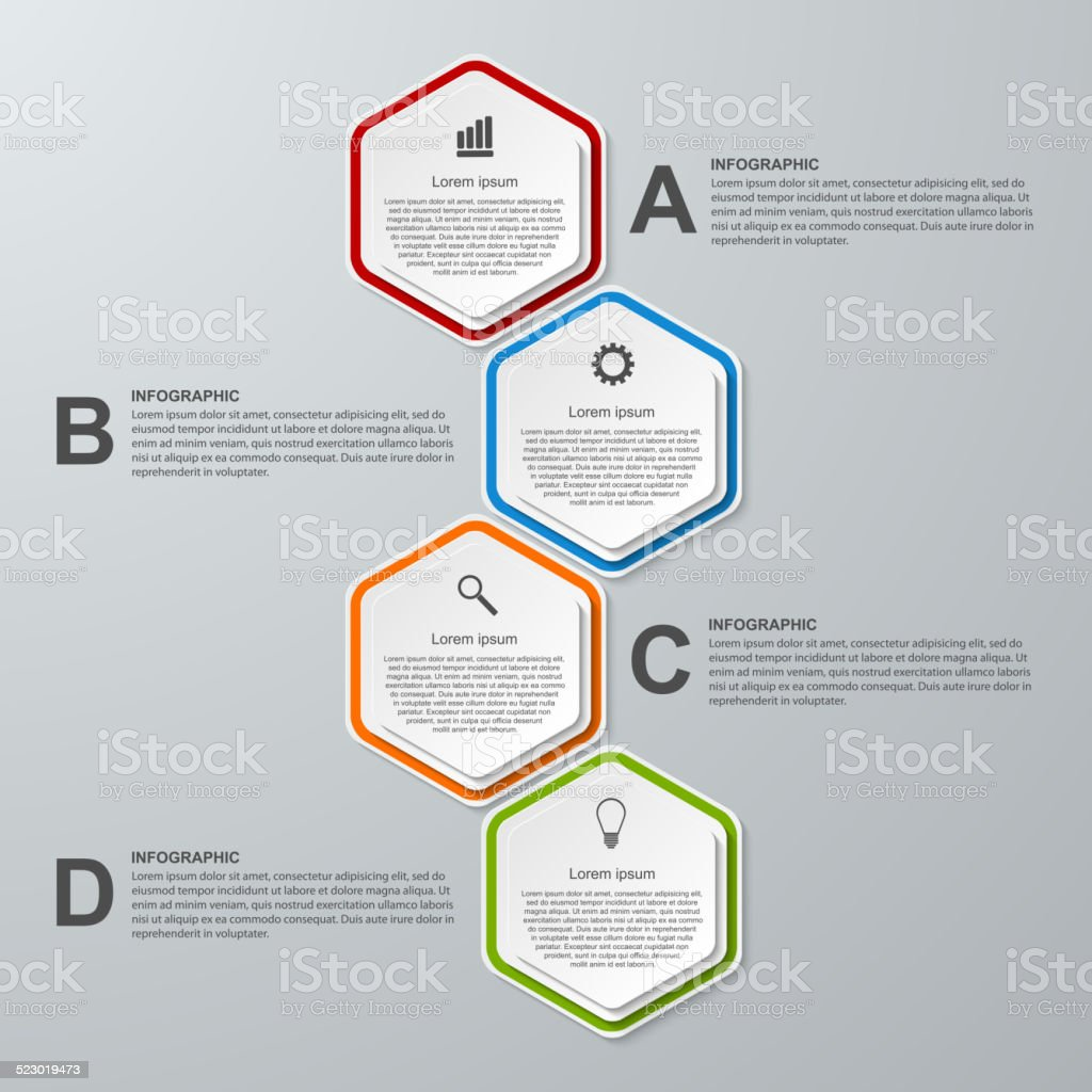 abstract 3d hexagon business options infographics template stock