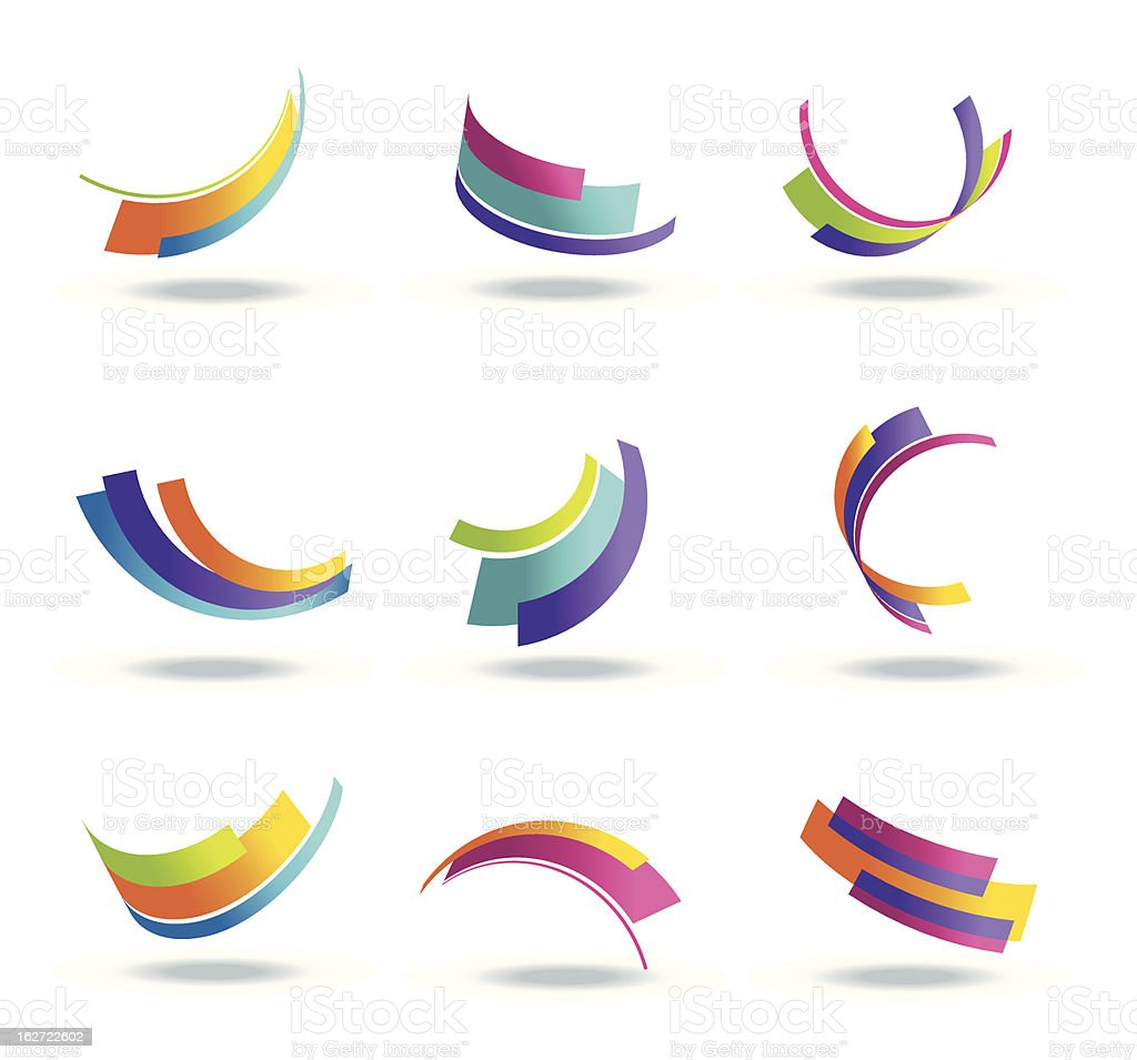 Abstract 3d icon set with colorful ribbon elements vector art illustration