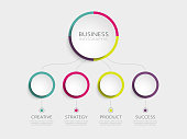 Abstract 3D Infographic Template with 4 steps for success. Business circle template with options for brochure, diagram, workflow, timeline, web design. Vector EPS 10