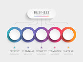 Abstract 3D Infographic Template with 5 steps for success. Business circle template with options for brochure, diagram, workflow, timeline, web design. Vector EPS 10
