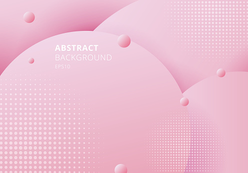 Abstract 3D liquid fluid circles pink pastels color beautiful background with halftone texture.