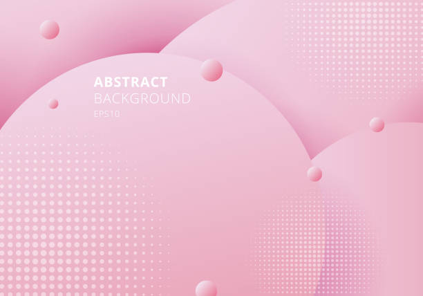 abstract 3d liquid fluid circles pink pastels color beautiful background with halftone texture. - makeup fashion stock illustrations