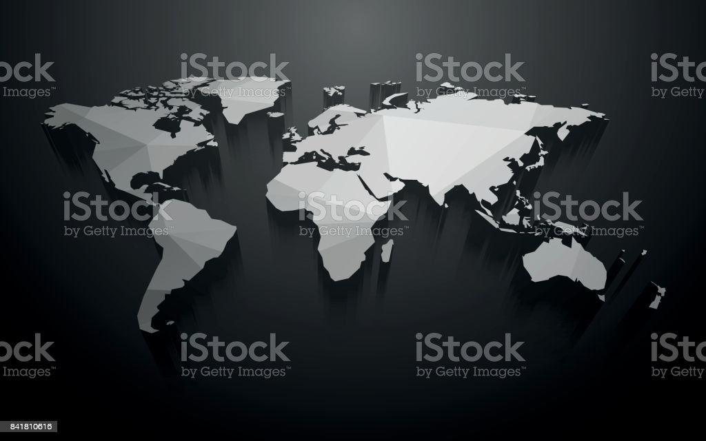abstract 3D map of the world vector art illustration