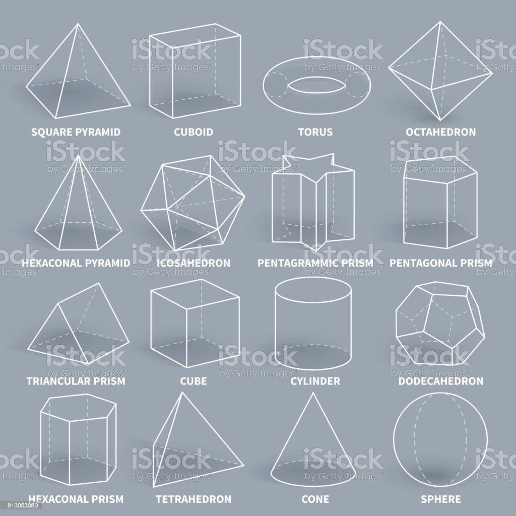Favorit Abstract 3d Math Contour Géométrique Jeu De Formes Vectorielles  DF56