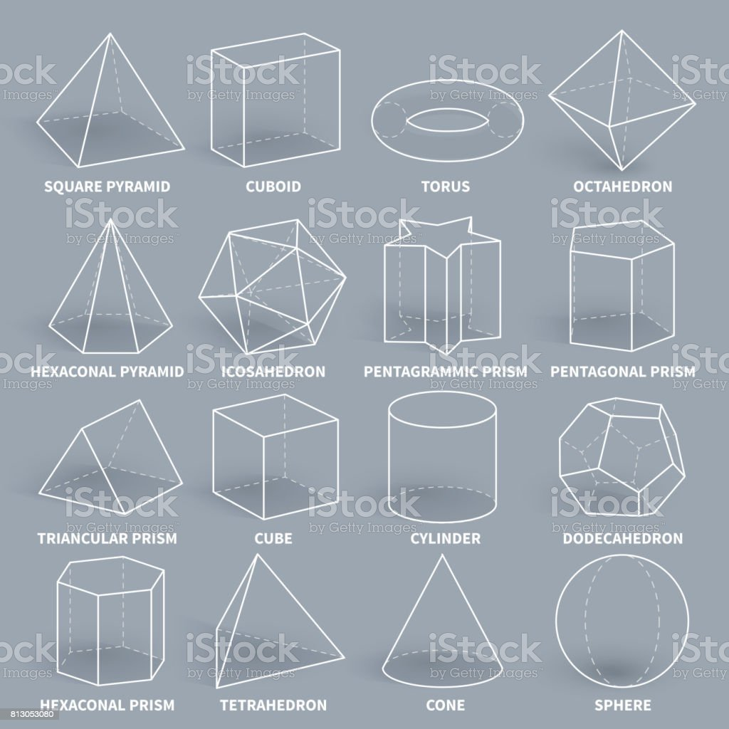 Abstract 3d math geometric outline shapes vector set vector art illustration