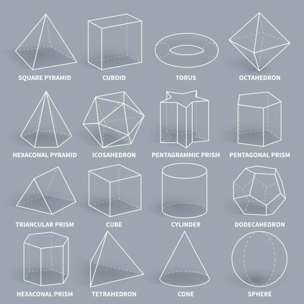 ilustrações de stock, clip art, desenhos animados e ícones de abstract 3d math geometric outline shapes vector set - cilindro formas geométricas