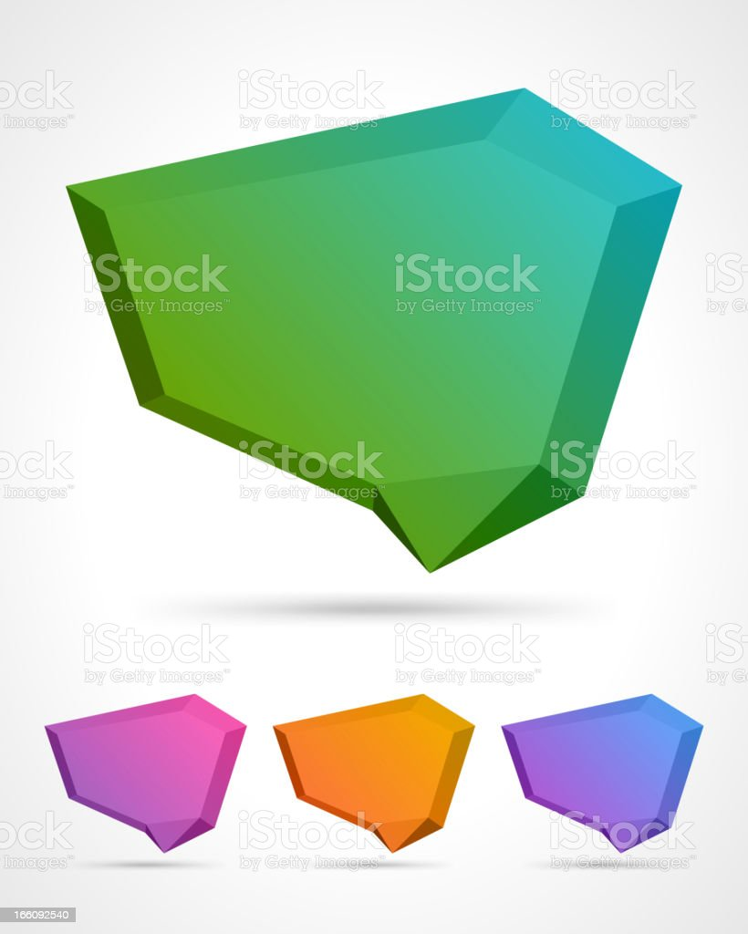 Abstract 3d origami speech bubble vector backgrounds set royalty-free stock vector art