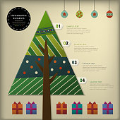 realistic vector abstract 3d paper Christmas tree infographic elements