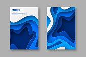 3d paper cut posters. Shapes with shadow in different blue color tones. Papercraft layered art. Design for decoration, business presentation, banners, flyers, prints. Vector.