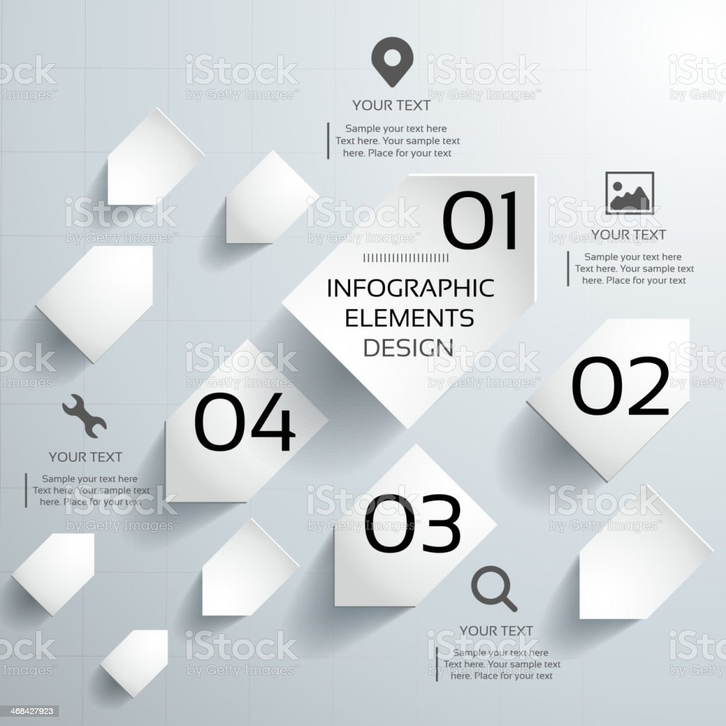 Abstract 3d paper infographics vector art illustration