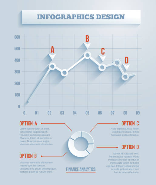stockillustraties, clipart, cartoons en iconen met abstract 3d paper infographics - lijngrafiek