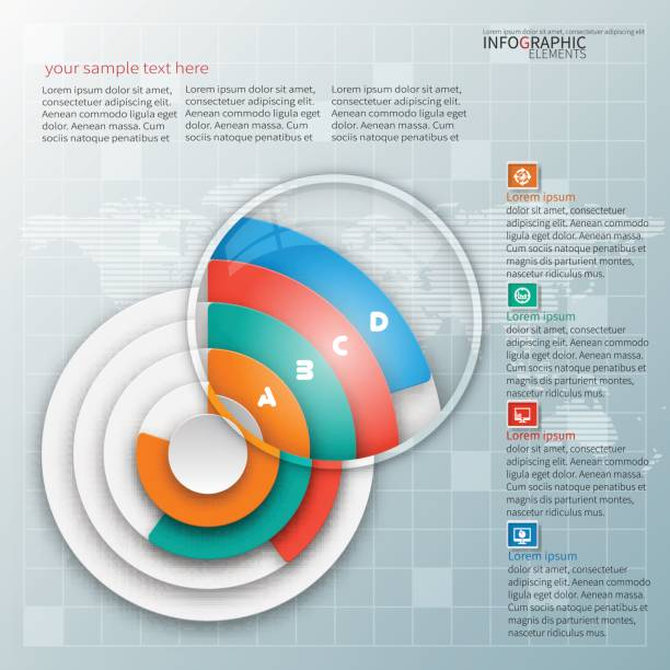 Abstract 3D Paper Infographics vector abstract 3d paper infographic elements.Circular infographics zoom effect stock illustrations