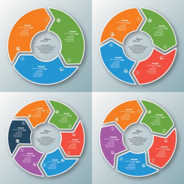 ilustrações de stock, clip art, desenhos animados e ícones de abstract 3d paper infographics - circular economy